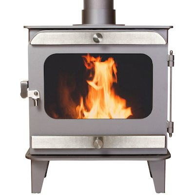 Firestorm 10 Multifuel Stove Metallic Brown Brushed Stainless Trim