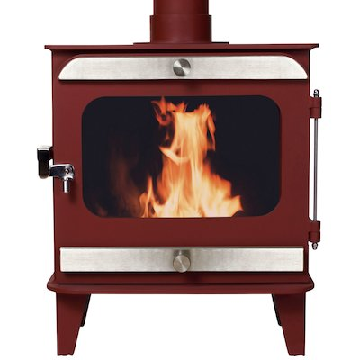 Firestorm 10 Multifuel Stove Mojave Red Brushed Stainless Trim