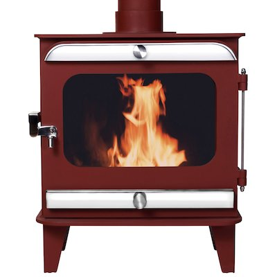 Firestorm 10 Multifuel Stove Mojave Red Polished Stainless Trim