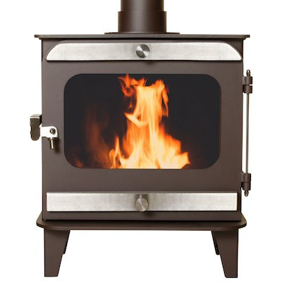 Firestorm 10 Multifuel Stove Metallic Rich Brown Brushed Stainless Trim