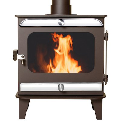 Firestorm 10 Multifuel Stove Metallic Rich Brown Polished Stainless Trim