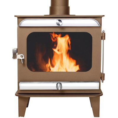 Firestorm 4.5 Multifuel Stove Honey Glow Brown Polished Stainless Trim