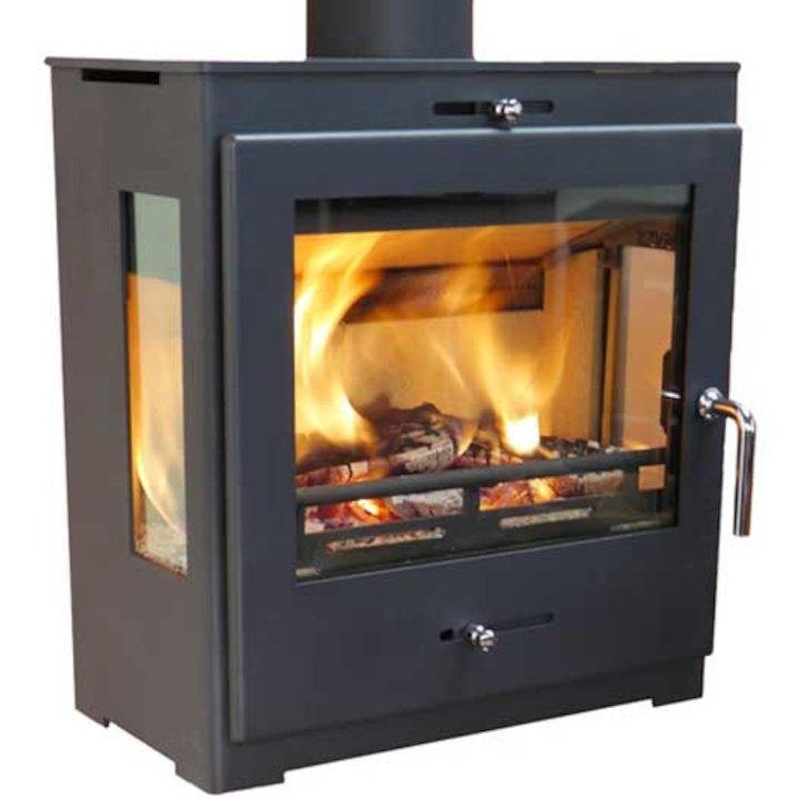 Pevex Bohemia X40 Cube Multifuel Stove Black Side Glass Windows - Black