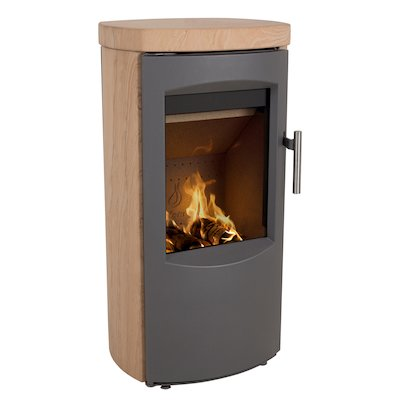 Heta Scanline 7B Multifuel Stove Yellow Sandstone Grey Trim