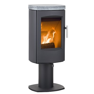 Heta Scanline 7D Multifuel Stove Black Fixed Pedestal Soapstone Top Plate