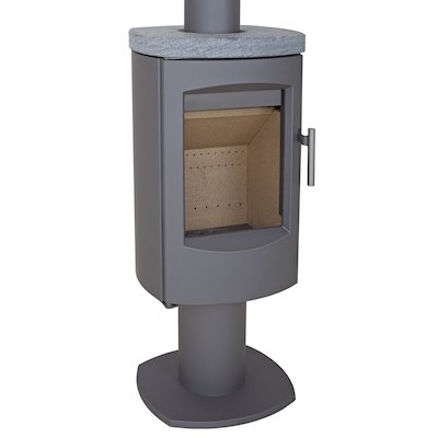 Heta Scanline 7D Multifuel Stove Grey Fixed Pedestal Soapstone Top Plate