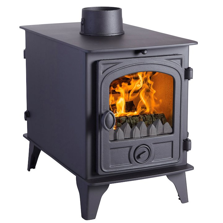 Hunter Hawk 4 Double Sided Multifuel Stove - Double Depth Black Contemporary Door - Black