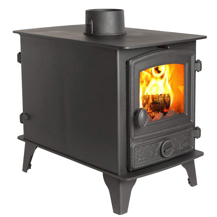Hunter Hawk 4 Double Sided Multifuel Stove - Double Depth Black Rope Effect Door - Black