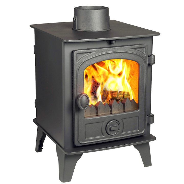 Hunter Hawk 4 Double Sided Multifuel Stove Black Contemporary Door - Black