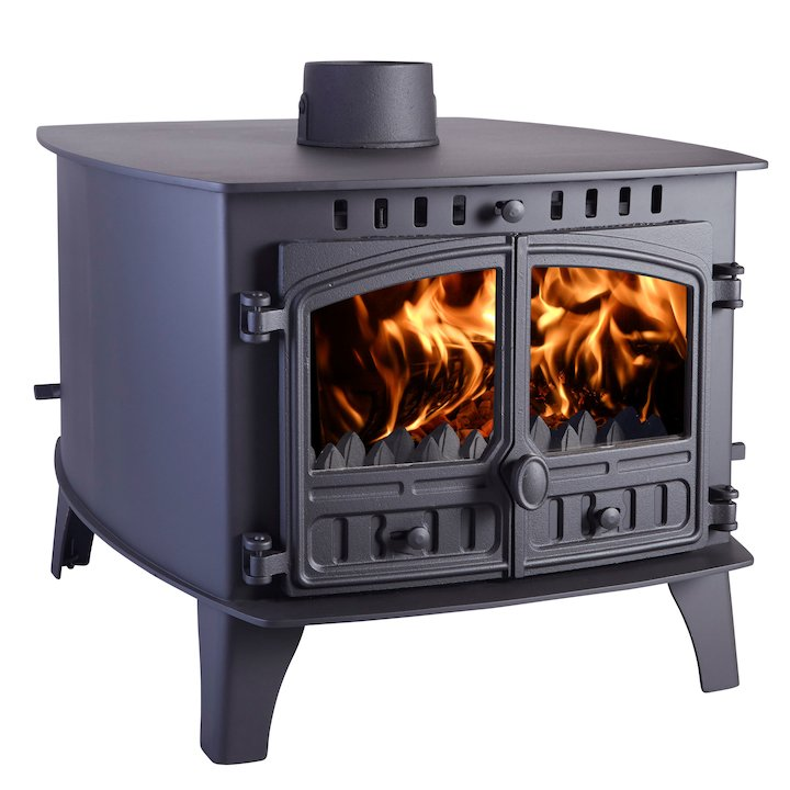 Hunter Herald 14 Double Sided FT Multifuel Stove - Double Depth Black Double Doors - Black