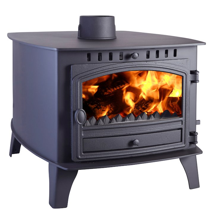 Hunter Herald 14 Double Sided FT Multifuel Stove - Double Depth Black Single Door - Black