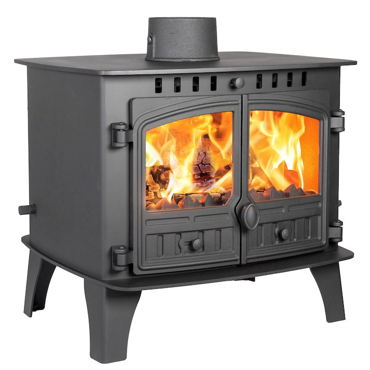 Hunter Herald 14 Double Sided FT Multifuel Stove Black Double Doors - Black