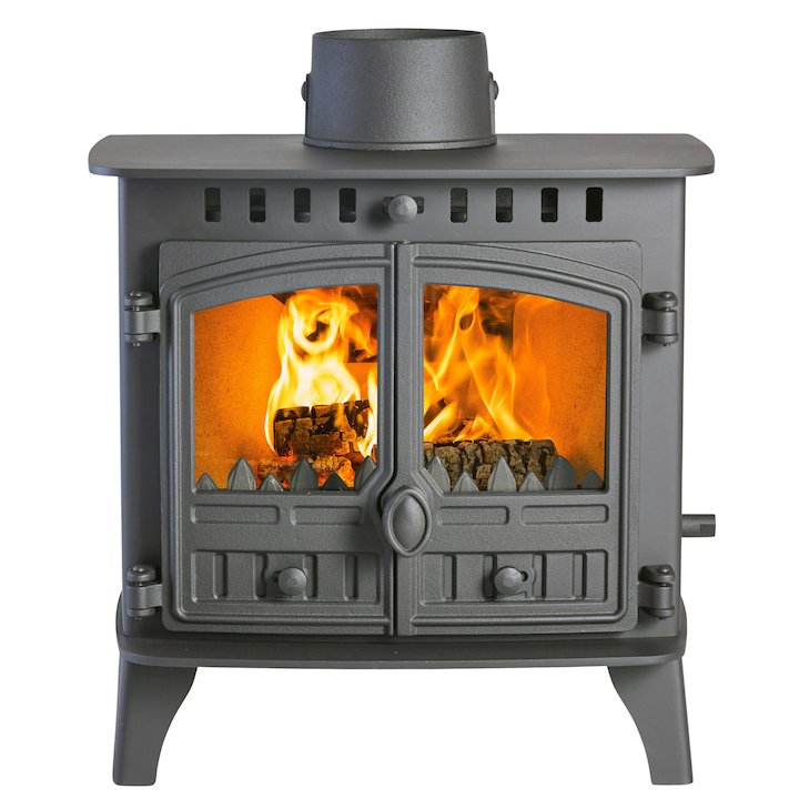 Hunter Herald 6 Double Sided FT Multifuel Stove - Double Depth Black Double Doors - Black