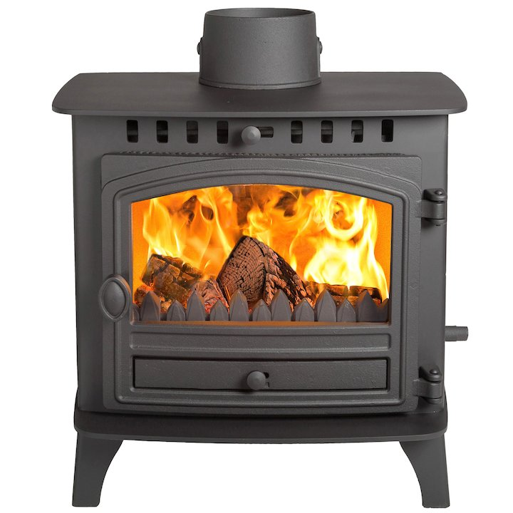 Hunter Herald 6 Double Sided FT Multifuel Stove - Double Depth Black Single Door - Black