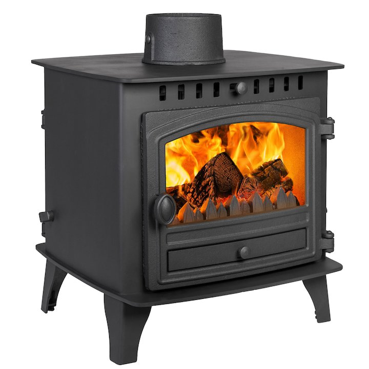 Hunter Herald 6 Double Sided FT Multifuel Stove Black Single Door - Black
