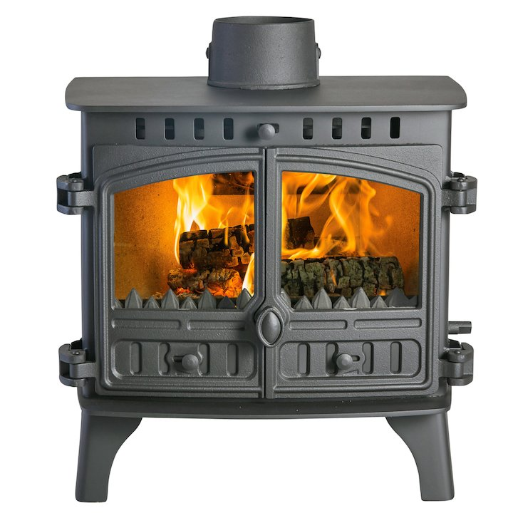 Hunter Herald 8 Double Sided FT Multifuel Stove - Double Depth Black Double Doors - Black