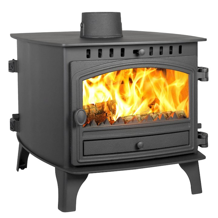 Hunter Herald 8 Double Sided FT Multifuel Stove - Double Depth Black Single Door - Black