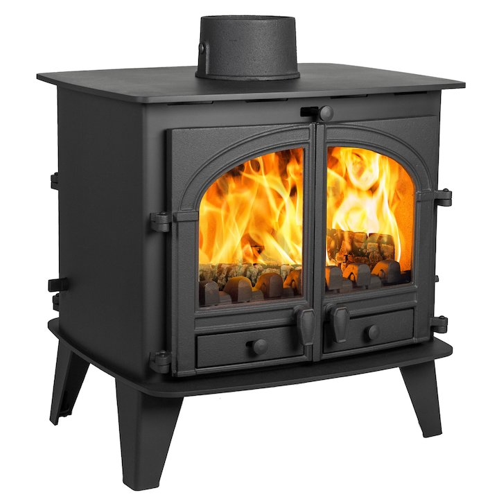 Parkray Consort 9 Double Sided Multifuel Stove Black Double Doors - Black