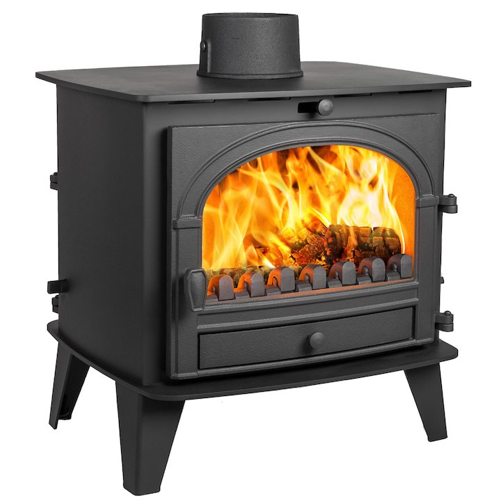 Parkray Consort 9 Double Sided Multifuel Stove Black Single Door - Black