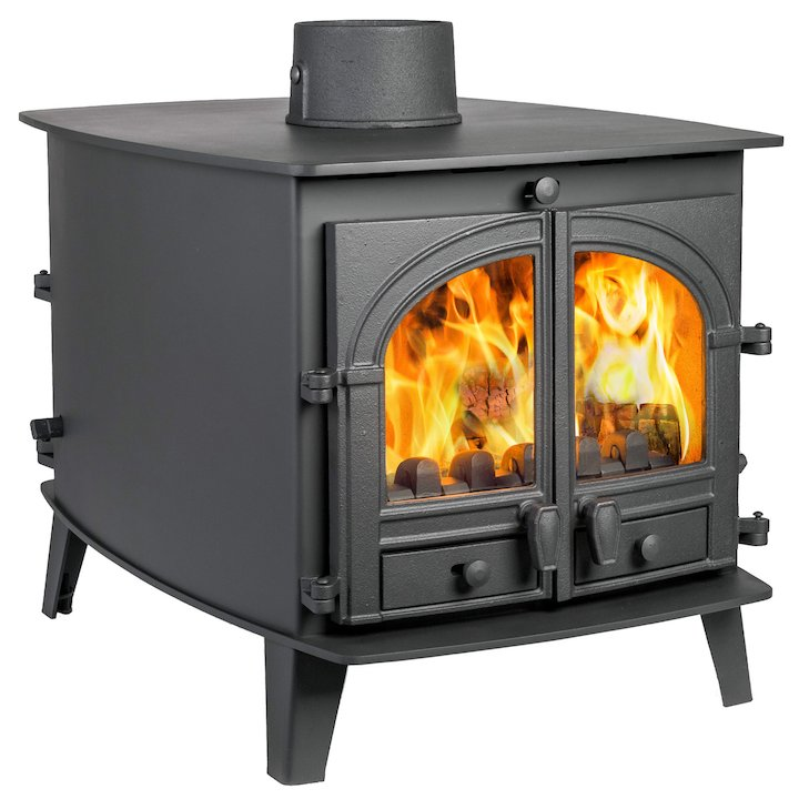 Parkray Consort 7 Double Sided Multifuel Stove - Double Depth Black Double Doors - Black