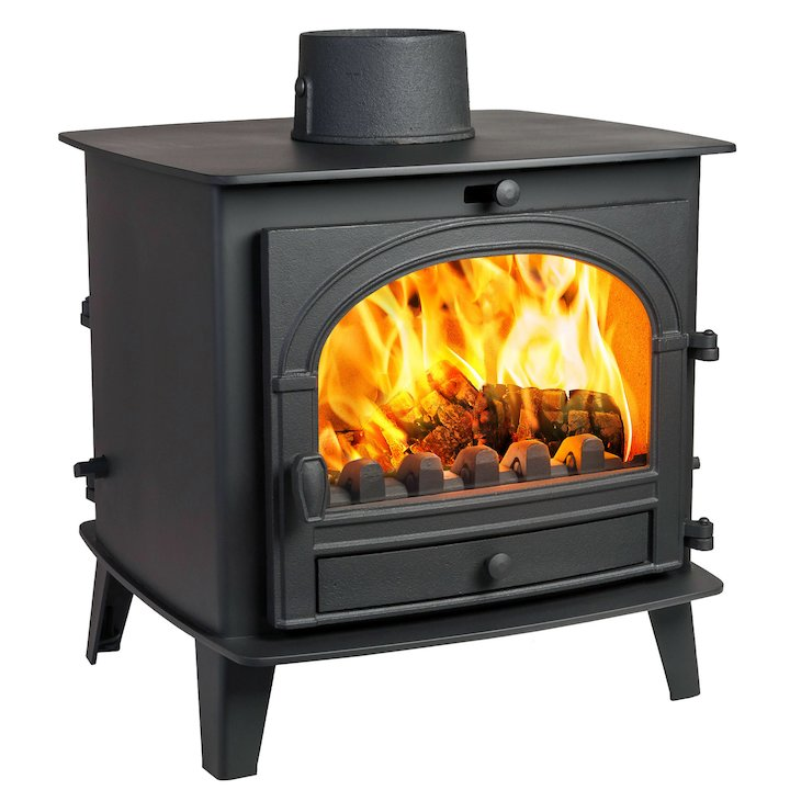 Parkray Consort 7 Double Sided Multifuel Stove Black Single Door - Black