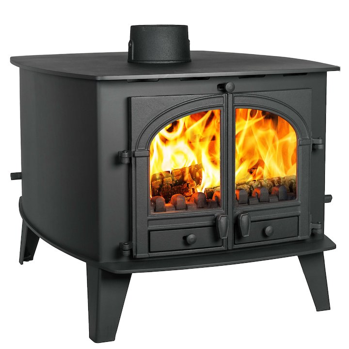 Parkray Consort 15 Double Sided Multifuel Stove - Double Depth Black Double Doors - Black