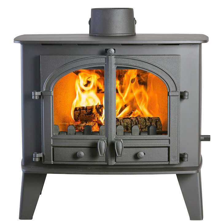 Parkray Consort 15 Double Sided Multifuel Stove Black Double Doors - Black