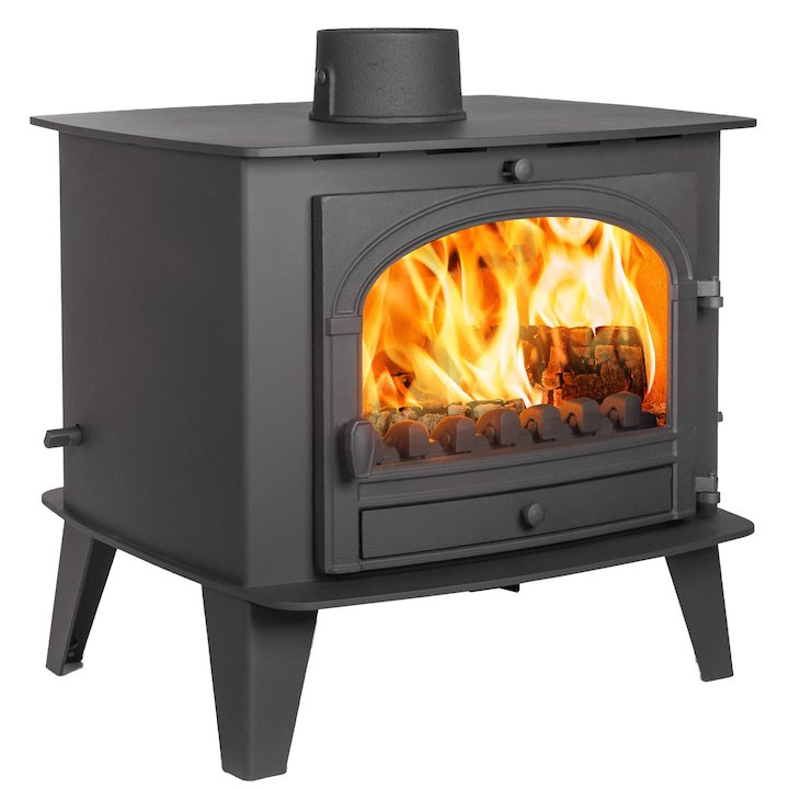 Parkray Consort 15 Double Sided Multifuel Stove Black Single Door - Black