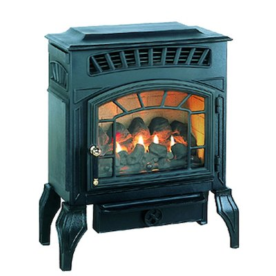 Burley Esteem Flueless Gas Stove Black Natural Gas Coal Effect