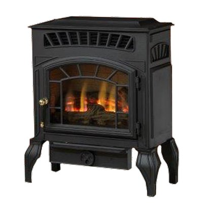 Burley Esteem Flueless Gas Stove Black Natural Gas Log Effect