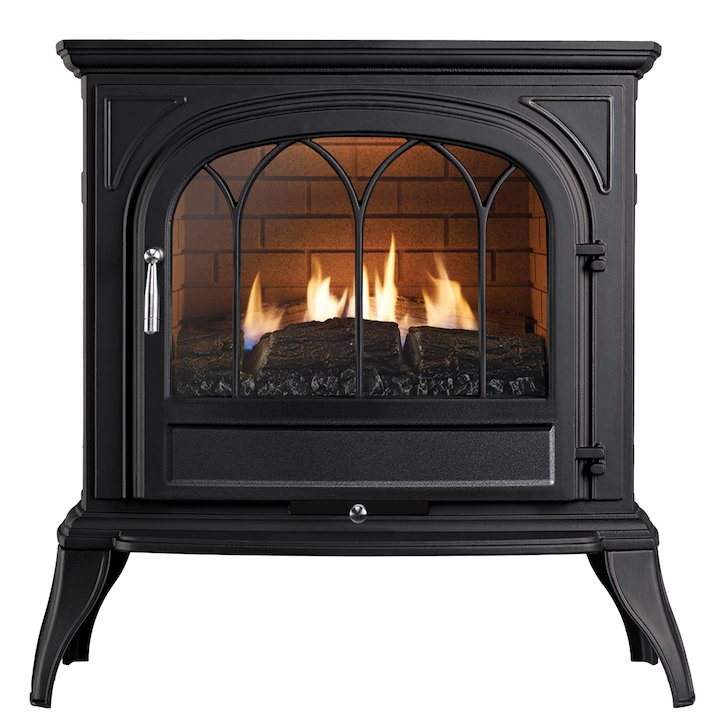 Ekofires 6010 Flueless Gas Stove Black Tracery Glass Door - Black