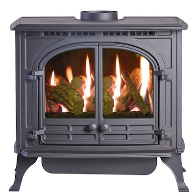 HS Gas Select 6 Conventional Flue Gas Stove Black LPG  Log Effect