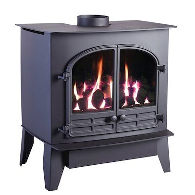 HS Gas Selene 6D Conventional Flue Gas Stove Black LPG  Coal Effect