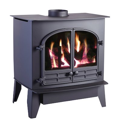 HS Gas Selene 6D Conventional Flue Gas Stove Black Natural Gas Log Effect