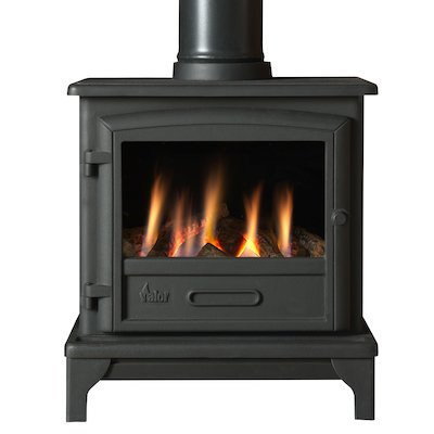 Valor Ridlington Conventional Flue Gas Stove Black Manual Control Log Effect