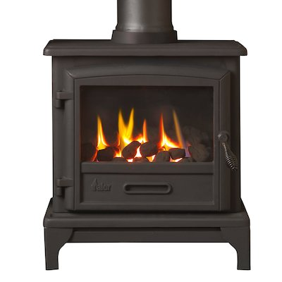 Valor Ridlington Conventional Flue Gas Stove Black Remote Control Coal Effect