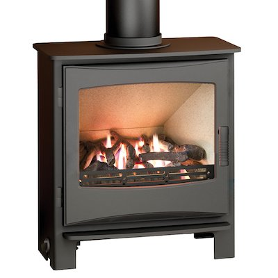 Broseley Evolution Desire/Ignite 7 Conventional Flue Gas Stove Black Natural Gas Cast-Iron Door