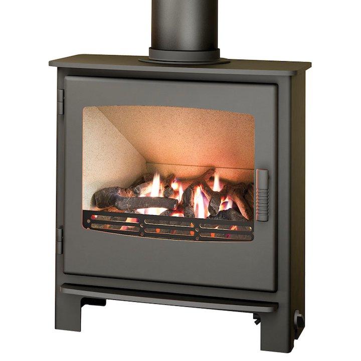 Broseley Evolution Desire/Ignite 7 Conventional Flue Gas Stove Black Natural Gas Steel Door - Black