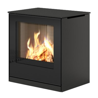 Rais Q-Tee Balanced Flue Gas Stove Black LPG  Black Glass Framed Door