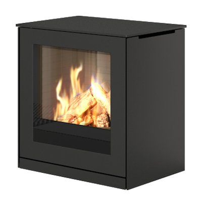 Rais Q-Tee Balanced Flue Gas Stove Black LPG  Metal Framed Door