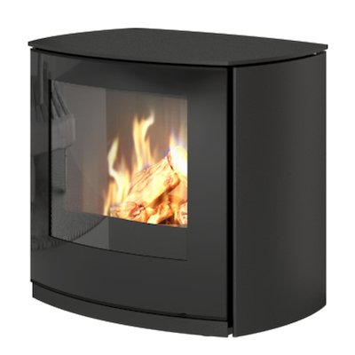 Rais Q-Tee Curve Balanced Flue Gas Stove Black LPG  Black Glass Framed Door
