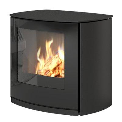 Rais Q-Tee Curve Balanced Flue Gas Stove Black LPG  Black Glass Framed Door
