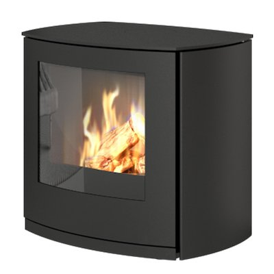 Rais Q-Tee Curve Balanced Flue Gas Stove Black Natural Gas Metal Framed Door