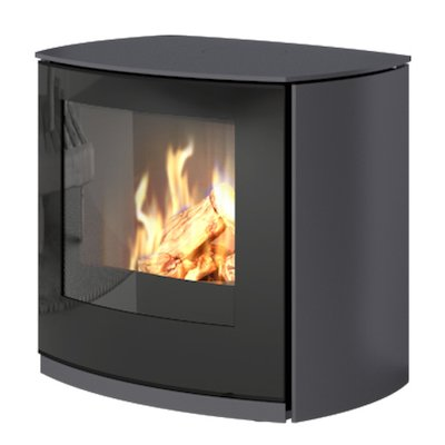 Rais Q-Tee Curve Balanced Flue Gas Stove Platinum LPG  Black Glass Framed Door