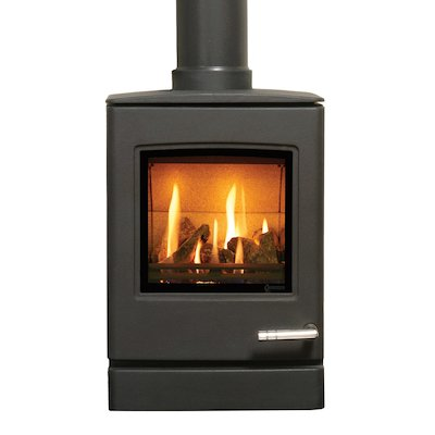 Yeoman CL3 Conventional Flue Gas Stove Anthracite LPG  Top Flue Outlet