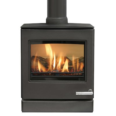Yeoman CL5 Balanced Flue Gas Stove Anthracite Natural Gas Top Flue Outlet