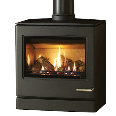 Yeoman CL8 Balanced Flue Gas Stove Anthracite Natural Gas Top Flue Outlet