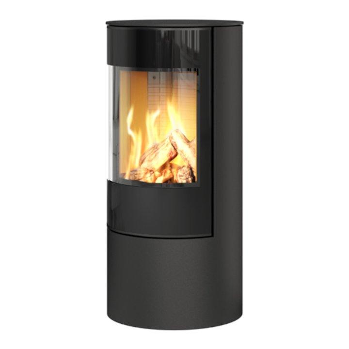 Rais Viva 100L Balanced Flue Gas Stove Black Black Glass Framed Door Solid Sides - Black