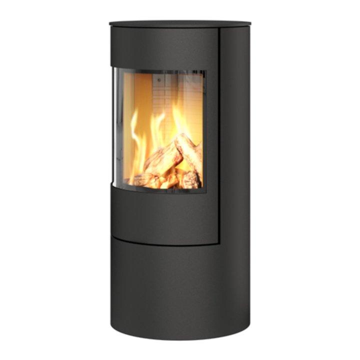 Rais Viva 100L Balanced Flue Gas Stove Black Metal Framed Door Solid Sides - Black