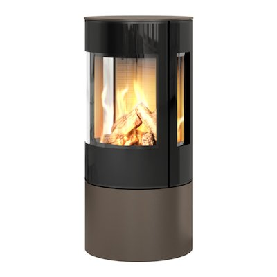 Rais Viva 100L Balanced Flue Gas Stove Mocha Black Glass Framed Door Side Glass Windows